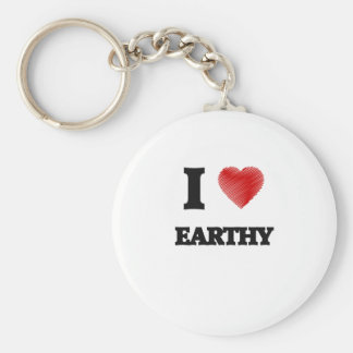 I love EARTHY Basic Round Button Key Ring