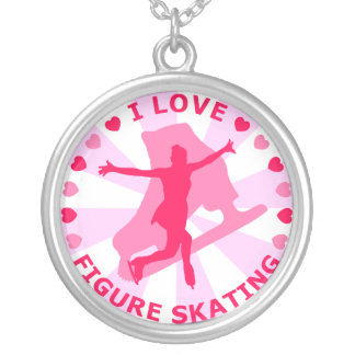 I Love Figure Skating Round Pendant Necklace