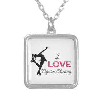 I LOVE Figure Skating, Snowflakes & Skater Square Pendant Necklace