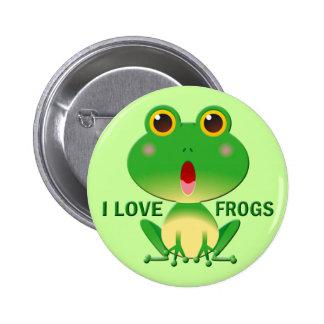 I LOVE FROGS 6 CM ROUND BADGE