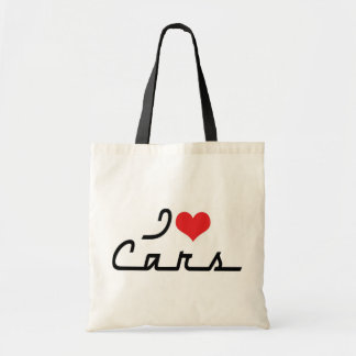 I Love Heart Cars - Classic Car Lover Budget Tote Bag
