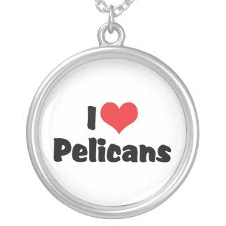 I Love Heart Pelicans - Pelican Lover Round Pendant Necklace