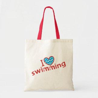 I love (heart) Swimming Budget Tote Bag