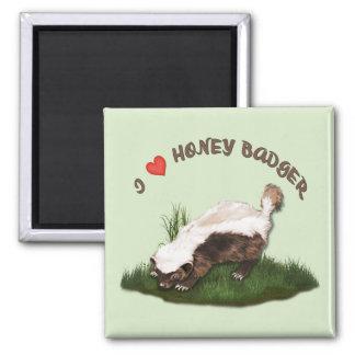 I Love Honey Badger Square Magnet