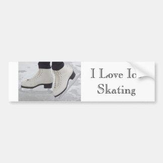 I Love Ice Skating Bumper Sticker