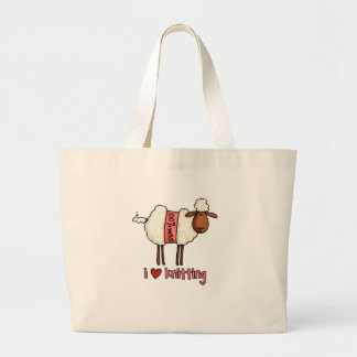 i love knitting jumbo tote bag