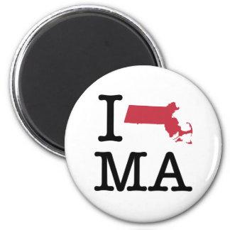 I Love Massachusetts 6 Cm Round Magnet