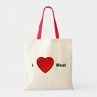 I love meat budget tote bag