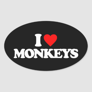 I LOVE MONKEYS OVAL STICKER