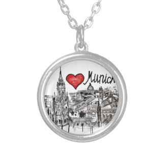 I love Munich Round Pendant Necklace