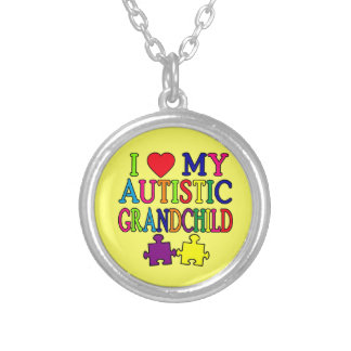 I Love My Autistic Grandchild Round Pendant Necklace