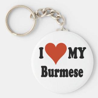 I Love My Burmese Cat Merchandise Basic Round Button Key Ring
