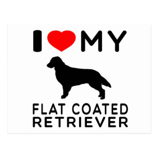 I Love My Flat-Coated Retriever. Postcard