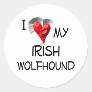 I Love My Irish Wolfhound Round Sticker