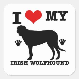 I Love my  irish wolfhound Square Sticker