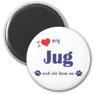 I Love My Jug (Female Dog) 6 Cm Round Magnet