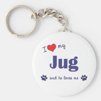 I Love My Jug (Male Dog) Basic Round Button Key Ring