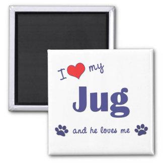 I Love My Jug (Male Dog) Square Magnet