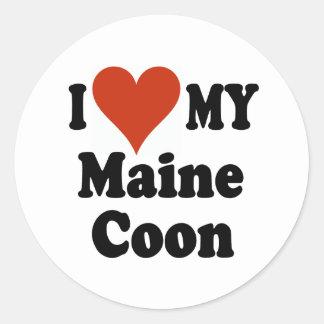 I Love My Maine Coon Cat Merchandise Round Sticker