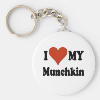 I Love My Munchkin Cat Gifts and Apparel Basic Round Button Key Ring