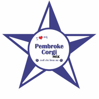 I Love My Pembroke Corgi Mix (Female Dog) Photo Sculpture Decoration