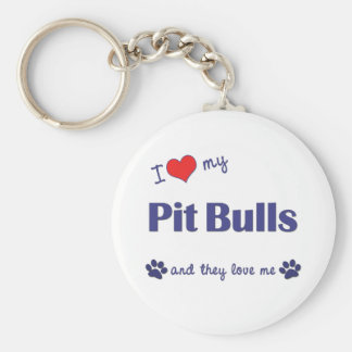 I Love My Pit Bulls (Multiple Dogs) Basic Round Button Key Ring