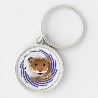 I love my small hamster Silver-Colored round key ring