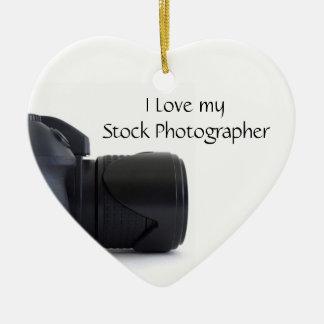 I love my Stock Photographer Ceramic Heart Decoration