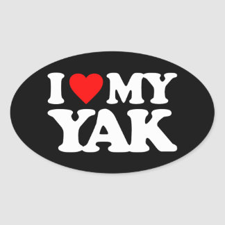 I LOVE MY YAK OVAL STICKER