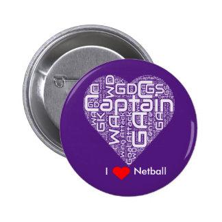 I Love Netball Word Art Design 6 Cm Round Badge