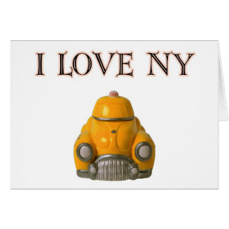 I Love New York Yellow Checkered Taxi Cab Greeting Card