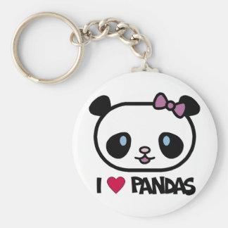 I Love Pandas Basic Round Button Key Ring