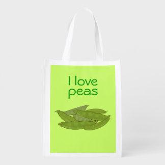 I Love Peas Bag for Gardener Vegetarian Vegan