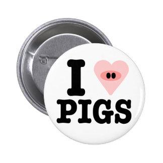i love pigs 6 cm round badge