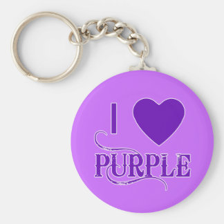 I Love Purple with Purple Heart Basic Round Button Key Ring