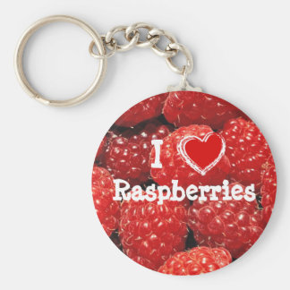 I Love Raspberries Basic Round Button Key Ring