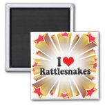 I Love Rattlesnakes Square Magnet
