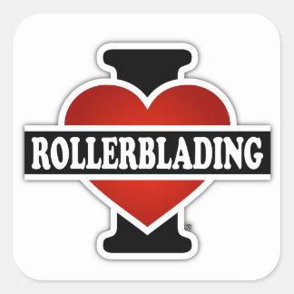 I Love Rollerblading Square Sticker