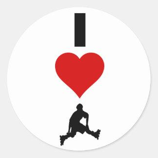 I Love Rollerblading (Vertical) Round Sticker