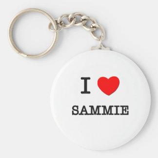 I Love Sammie Basic Round Button Key Ring