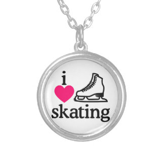 I Love Skating Round Pendant Necklace