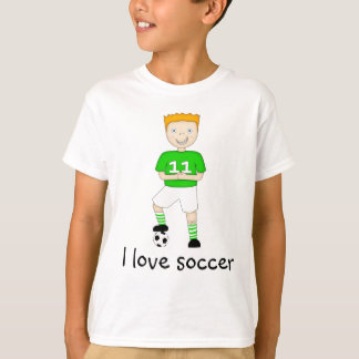I Love Soccer Cartoon Character in Green & White T Shirts