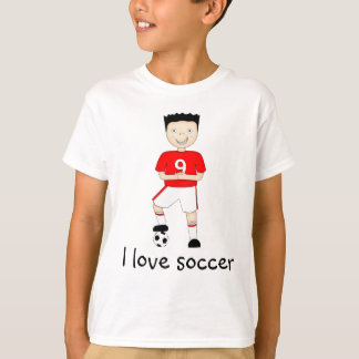 I Love Soccer Cartoon Character in Red & White Tee Shirts