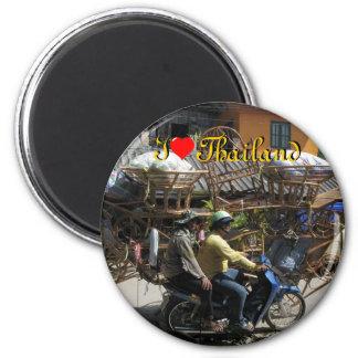 I Love Thailand on Round Magnet