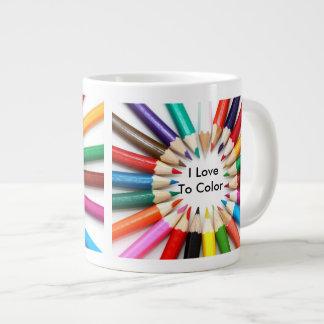 """""""I Love to Color"""" Coloring Pencils Design Mug Jumbo Mug"""