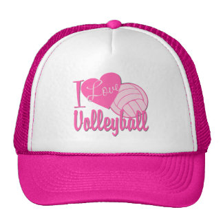 I Love Volleyball Pink Cap