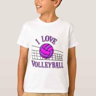 I Love Volleyball, pinkpurple T Shirt