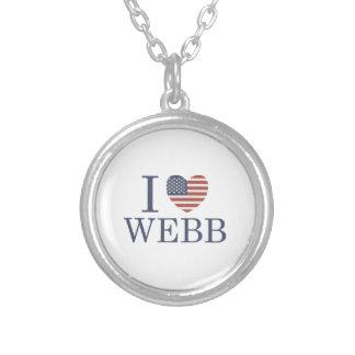 I Love Webb Round Pendant Necklace