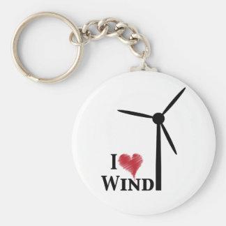 i love wind energy basic round button key ring