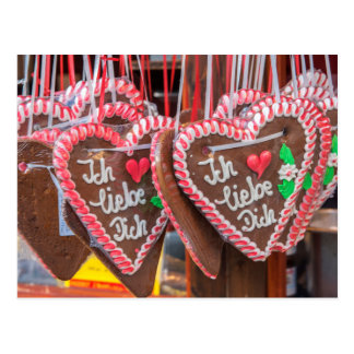 I Love You Gingerbread Hearts At The Holiday Postcard